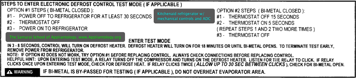 Kitchenaid refrigerator with mechanical controls and ADC