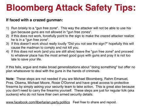 Tips from Mayor Bloomberg for Surviving a Gun Attack by a Crazed Criminal
