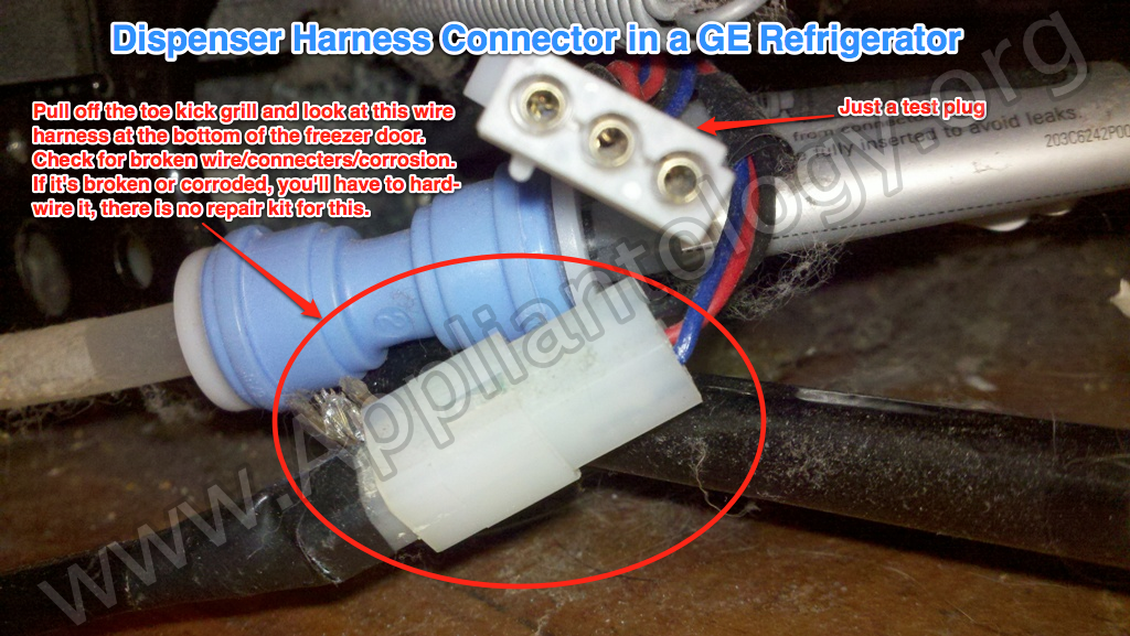 Dispenser Harness Connector In A GE Refrigerator
