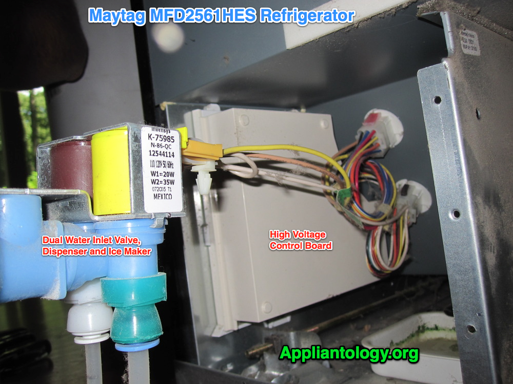 Water Inlet Valve and HV Control Board on a Maytag MDF2561HES Refrigerator