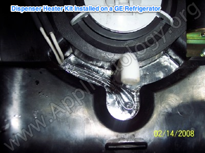 Dispenser Heater Kit Installed On A GE Refrigerator