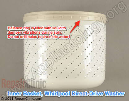 Whirlpool Direct Drive Washer Inner Basket and Balance Ring