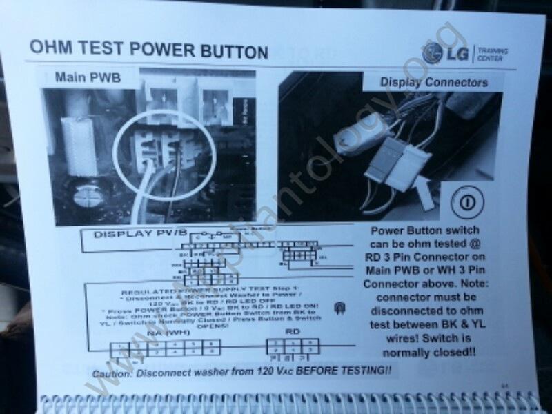 LG Titan Washer Training: Testing, Power Button