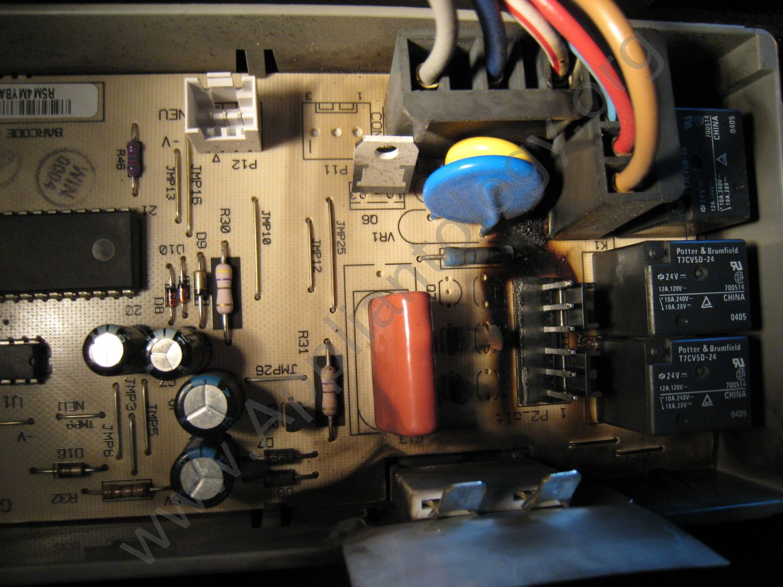 Another View of the Board where the Wire Harness Connector Attached - Kitchenaid Dishwasher Control Board