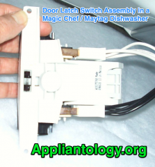 Door Latch Switch Assembly in a Magic Chef / Maytag Dishwasher