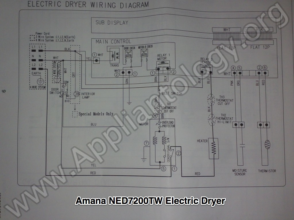 Amana NED7200TW (Samsung built) Electric Dryer Wiring Diagram