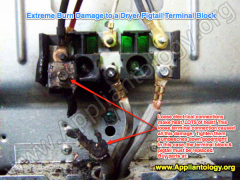 Extreme Burn Damage To A Dryer Pigtail Terminal Block