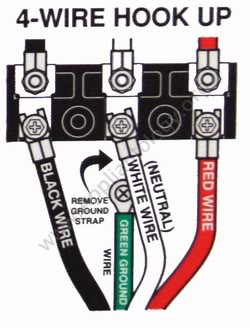 Terminal Connections on an Electric Range with a Four-conductor Power Cord