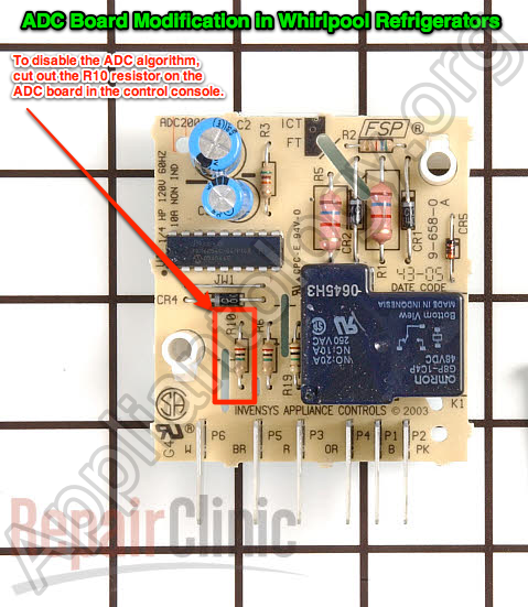 Adaptive Defrost Control (ADC) Board Modification In Some Models Of Whirlpool built Refrigerators