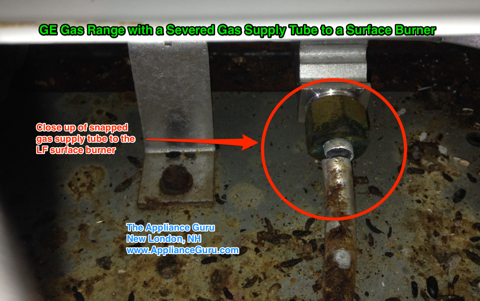 GE Gas Range with A Severed Gas Supply Tube To A Surface Burner