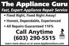 The Appliance Guru - Expert Appliance Repair Service in the Greater Lake Sunapee Region of NH