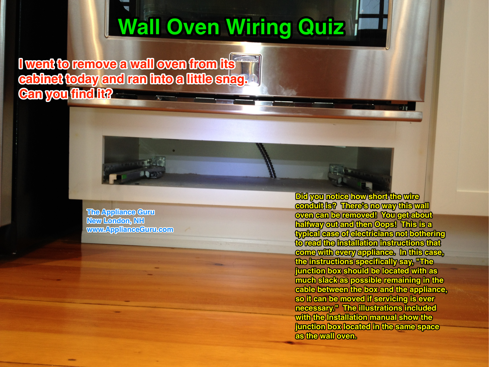 Wall Oven Wiring Fail - The Appliantology Gallery ... Wiring In An Oven on