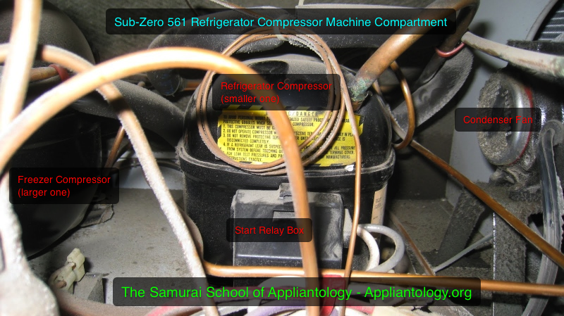 Sub-Zero 561 refrigerator: compressor compartment