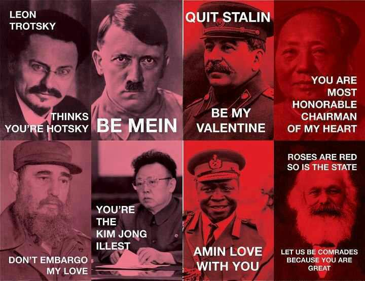 Valentines Cards from Famous Communists and Mass Murders (but I repeat myself)