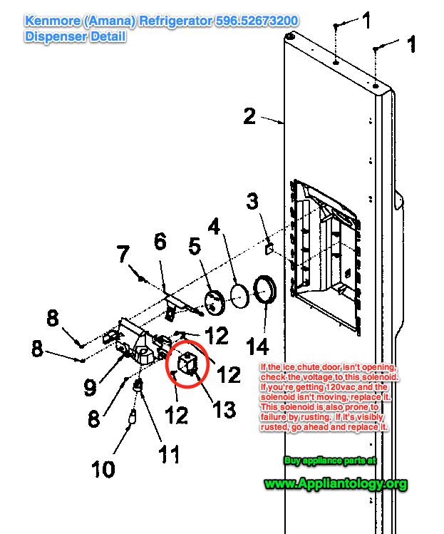 Kenmore Amana 596.52673200 Refrigerator: Dispenser Detail