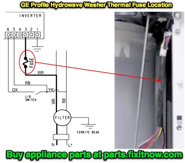 ge hydrowave washer thermal fuse location the appliantology rh appliantology org whirlpool dryer thermal fuse diagram Frigidaire Dryer Fuse Location