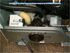 Location Of The Drain Pump And Recirc Pump In An LG WM3988H Washer