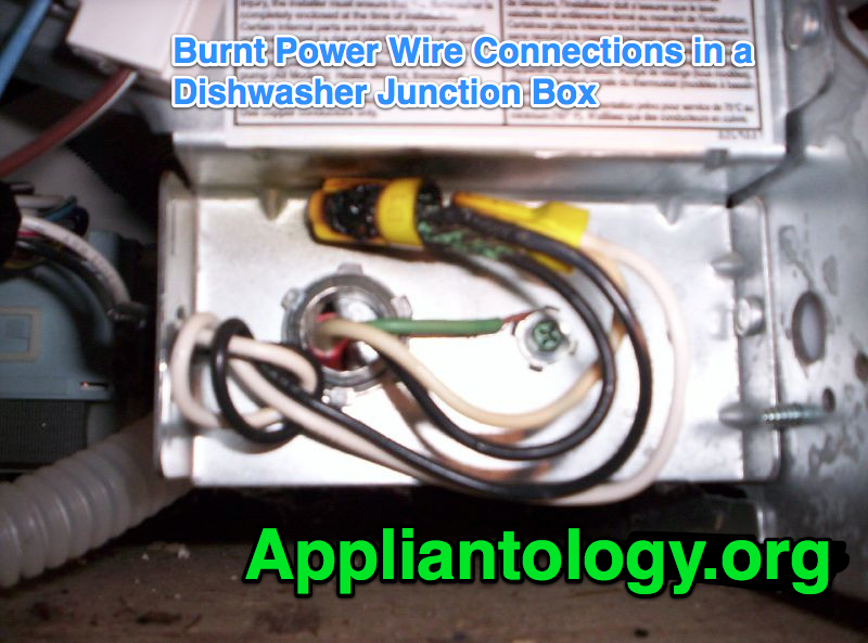 Burnt Power Wire Connections In A Dishwasher Junction Box