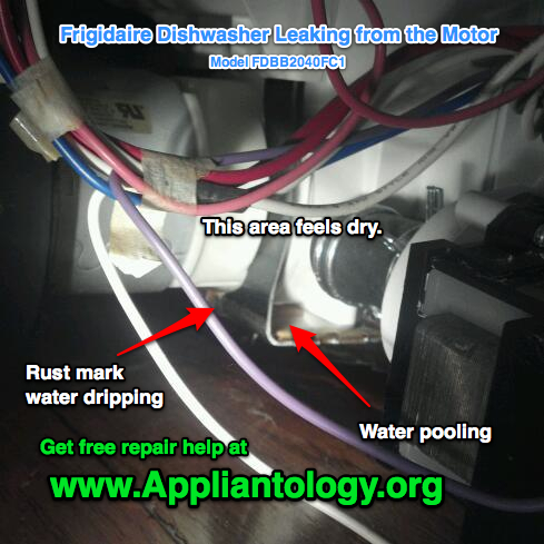 Frigidaire Dishwasher Leaking from the Motor