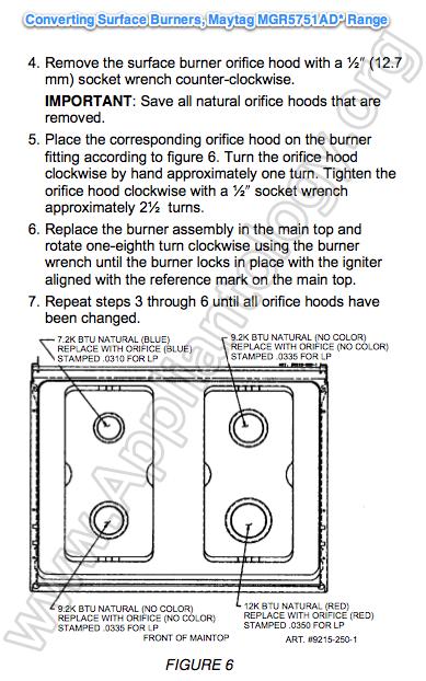 Converting Surface Burners Maytag MGR5751AD* Range