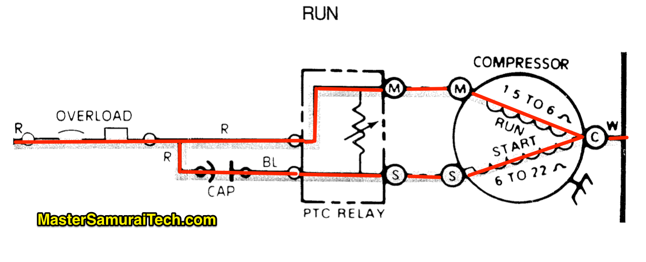 Split phase compressor Run
