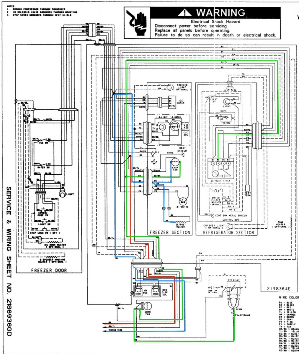 Whirlpool Refrigerator Schematic Diagram Guide And Troubleshooting Old Ge Wiring Ed25rfxfw01 The Rh Appliantology Org Model