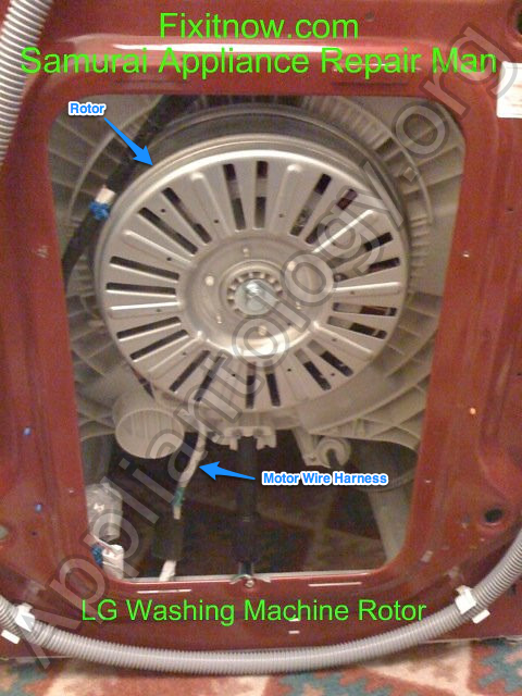 Back of an LG Washing Machine Showing Rotor and Wire Harness