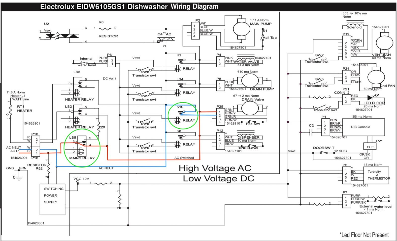 electrolux eidw6105gs1 dishwasher wiring diagram the appliantology rh appliantology org wiring diagram for dishwasher wiring diagram for kenmore dishwasher