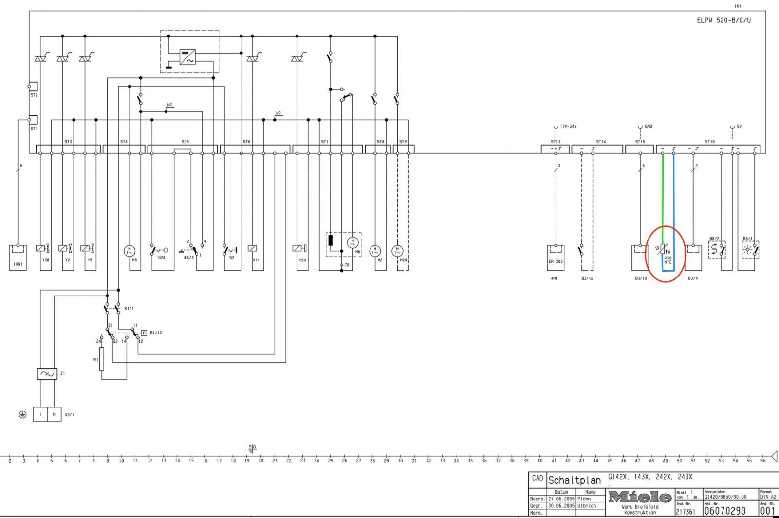Miele G1xxx 2xxx WD Dishwasher Schematic