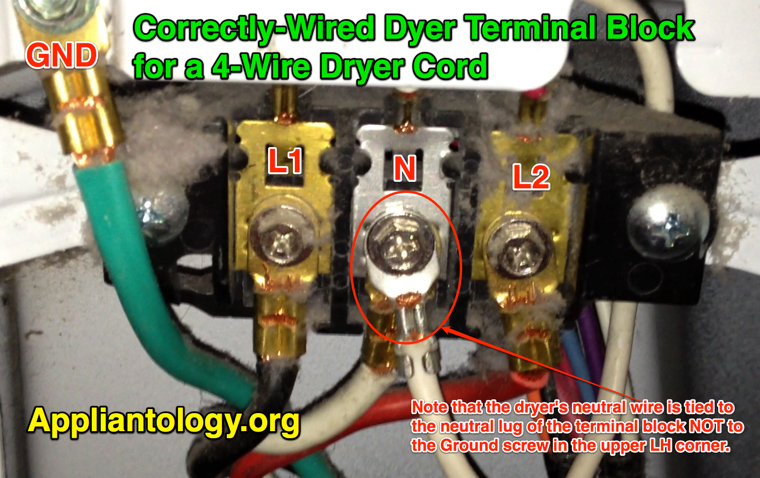 Correctly Wired Dyer Terminal Block For A 4 Wire Dryer Cord ... on