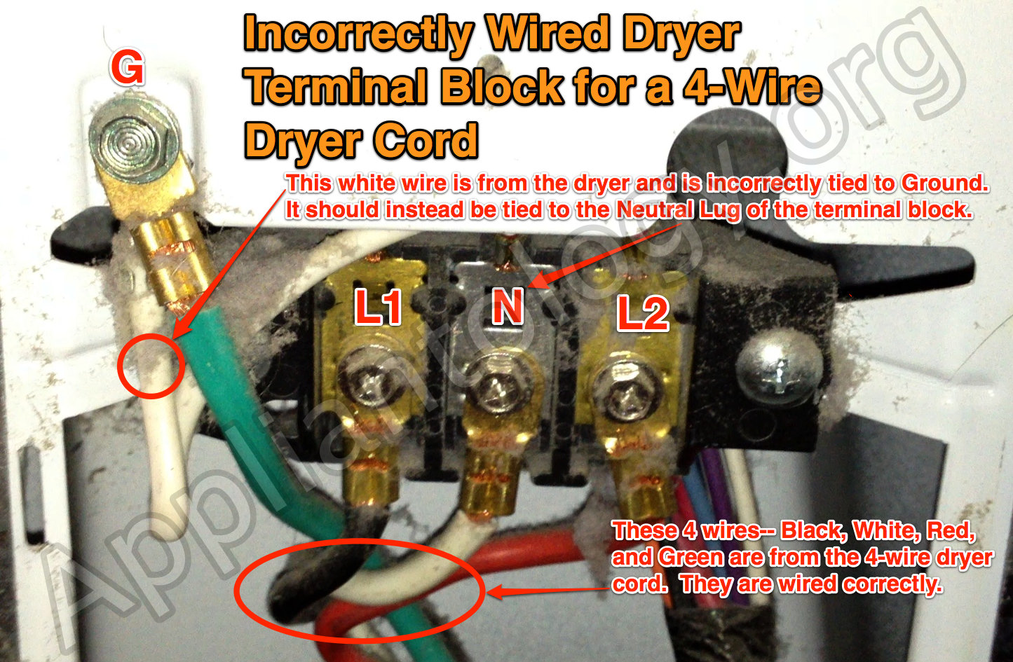 incorrectly wired dryer terminal block for a 4 wire dryer cord the rh appliantology org how do i wire a dryer cord wiring a three prong dryer cord