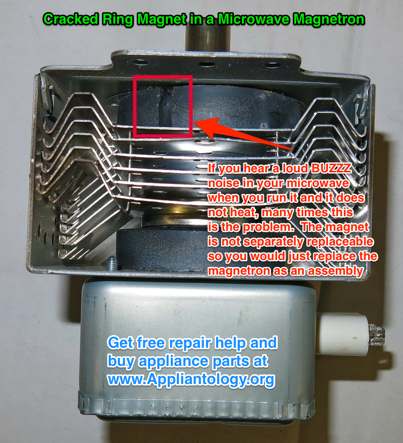 Microwave Oven Magnetron ~ Cracked ring magnet in a microwave magnetron the