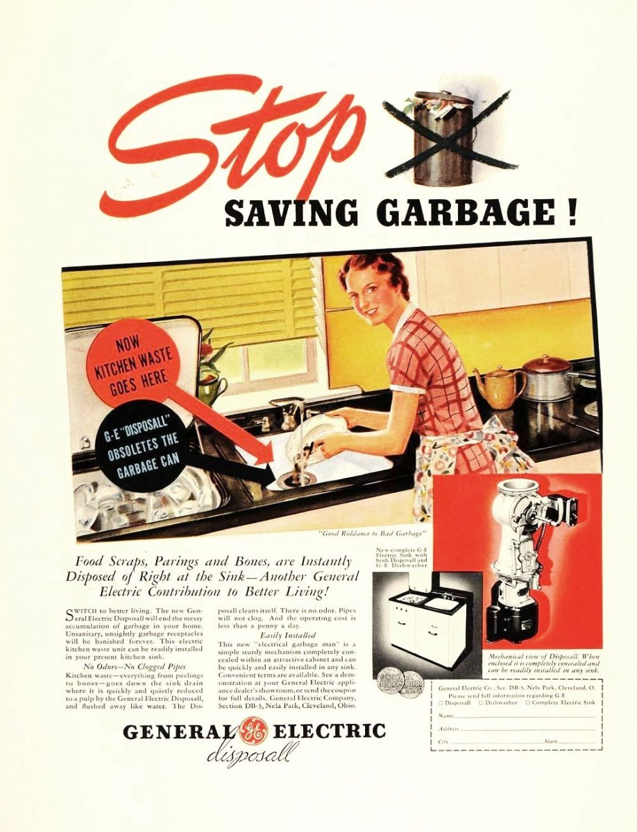 1937 GE Garbage Disposal Advertisement