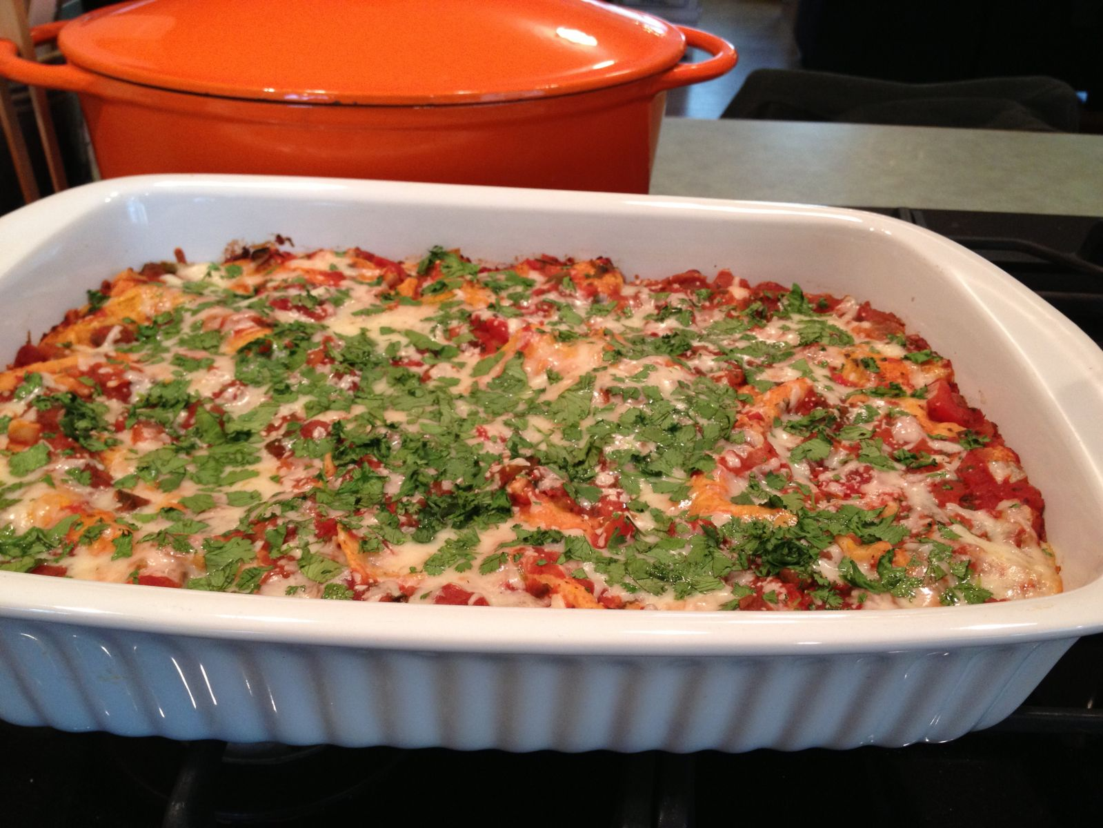 Enchilasagna out of the oven