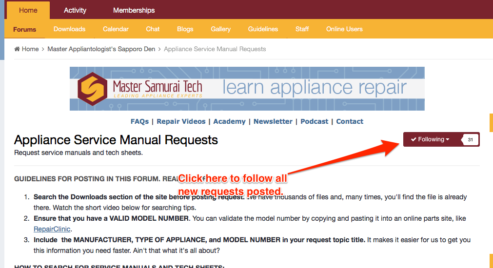 Following Appliance Service Manual Requests to be Notified of New Requests