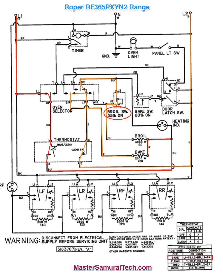 Roper RF365PXYN2 Range Bake Circuit