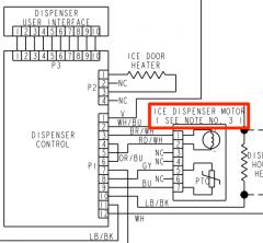 Whirlpool GS6SHEXMS00 Refrigerator Ice Dispenser Motor Schematic