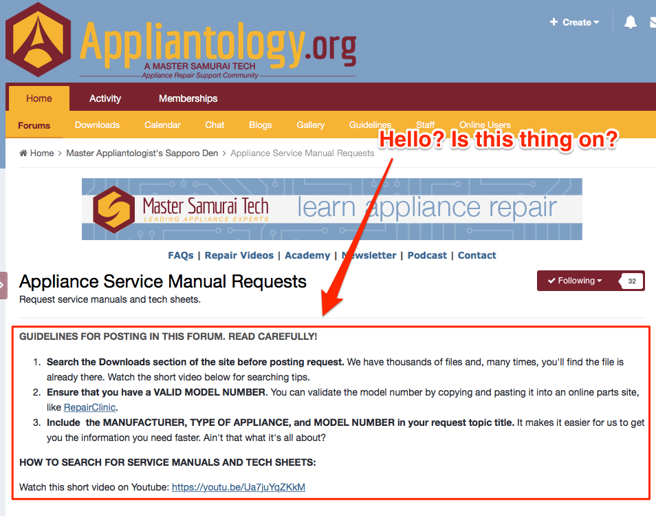 Appliance Service Manual Requests Forum Guidelines