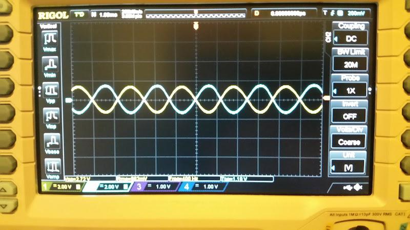 Antiphase Sine Waves on an Oscilloscope