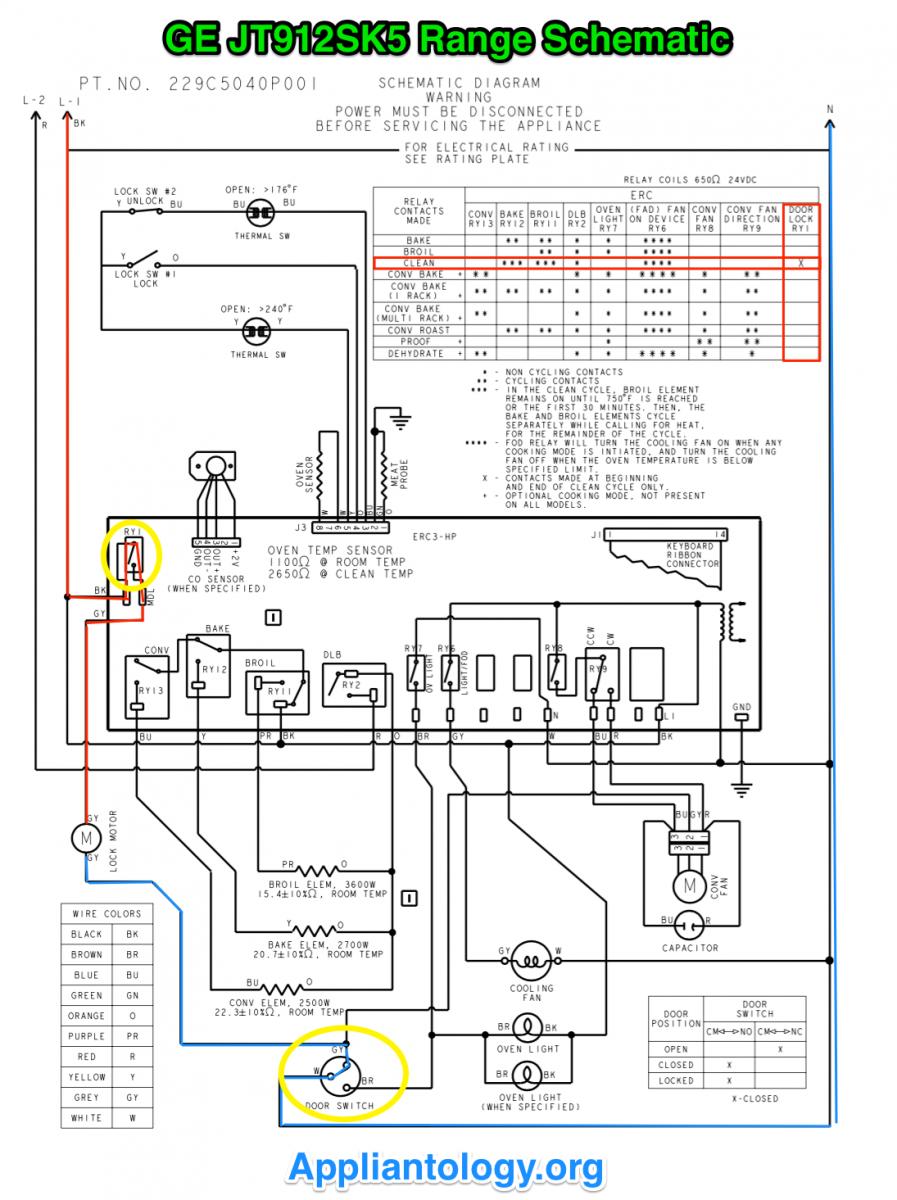 GE JT912SK5 Range Schematic