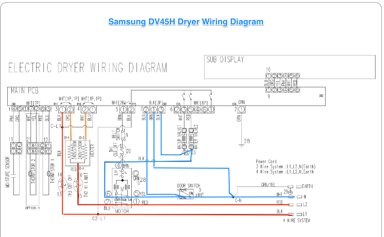 samsung dv42h dryer wiring diagram the appliantology gallery rh appliantology org Wiring a Four Prong Dryer 3 Prong Wire Diagram