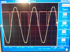 Triac output and gating pulses oscilloscope