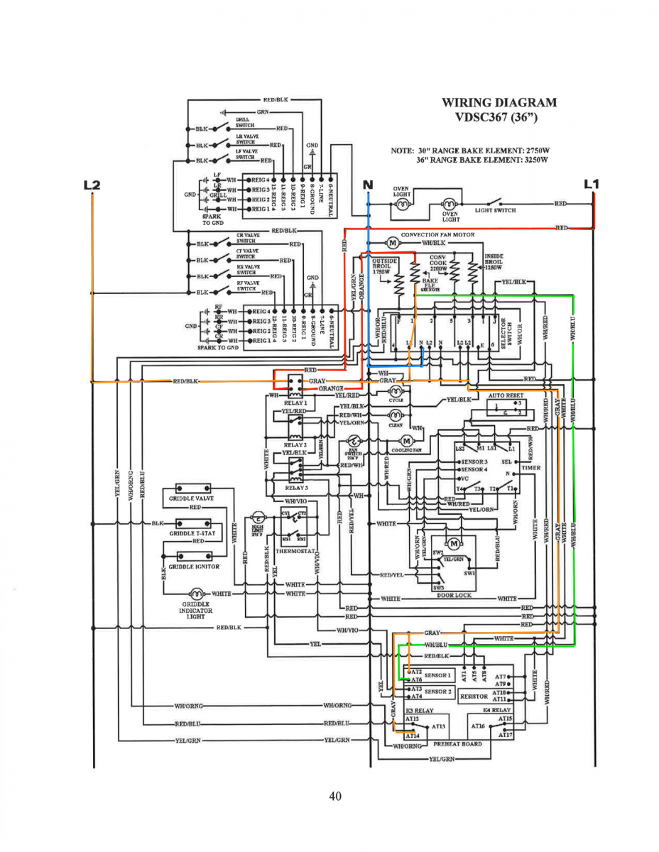 Viking VDSC367 Range Bake Circuit Schematic Trace The
