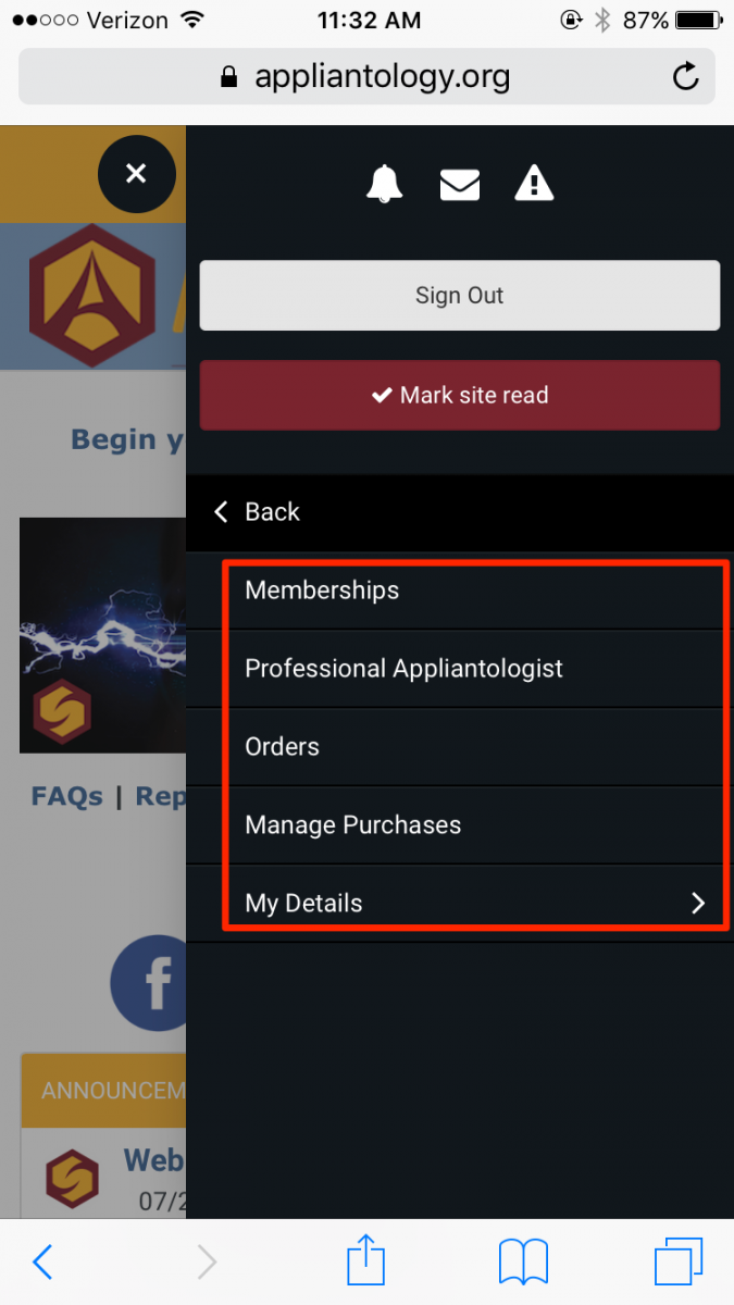 Appliantology Membership Options Mobile