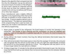 Refrigerator Adaptive Defrost Algorithms