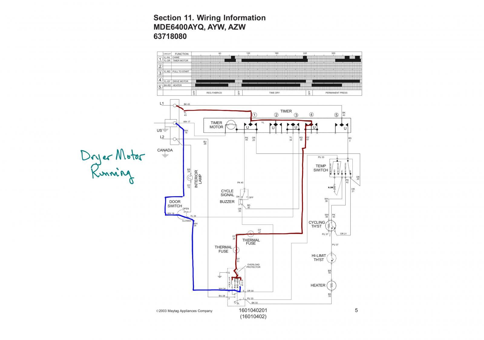 Maytag MDE6400AYQ Dryer Schematic - Drive Motor Running