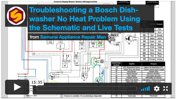 Troubleshooting a Bosch Dishwasher No Heat Problem Using the Schematic and Live Tests