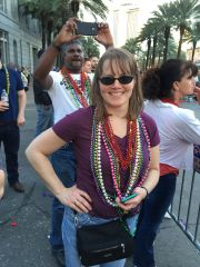 Mrs. Samurai showing off her parade bling